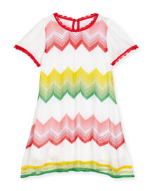 Short-Sleeve Zigzag Shift Dress, Multicolor, Size 4-10