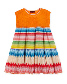 Sleeveless Striped Zigzag Dress, Multicolor, Size 2-6