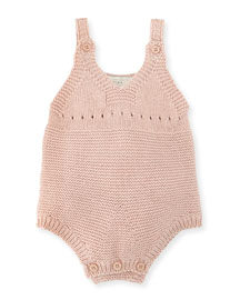 Sleeveless Knit Bunny Playsuit, Blossom, Size 3-9 Months