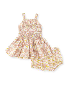 Sleeveless Ruched Floral Dress w/ Bloomers, Pink, Size 12-24 Months