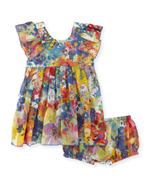 Chestnut Floral Chiffon Dress w/ Bloomers, Multicolor, Size 12-24 Months
