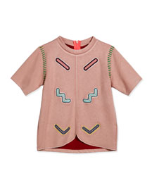Jive Short-Sleeve Embroidered Tee, Dusky Pink, Size 8-14