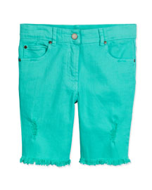 Kennedy Stretch Denim Cutoff Shorts, Aqua, Size 8-14