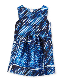 Sleeveless Scribble-Print Shift Dress, Blue, Size 4-7