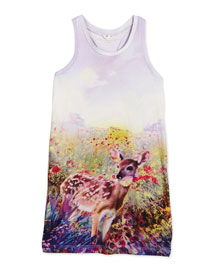 Mia Floral Deer Racerback Tank, Lavender, Size 4-10