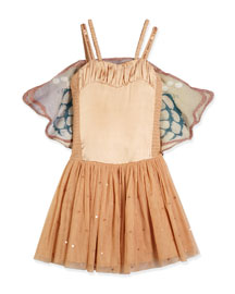 Bonny Sleeveless Sequined Tulle Dress, Pink, Size 4-10