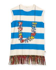 Striped Lei Jersey Coverup Shift Dress, Blue, Size 4-8