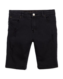 Moses Distressed Denim Shorts, Black, Size 4-10