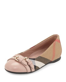 Avonwick Check Ballet Flat, Light Pink/Tan, Youth