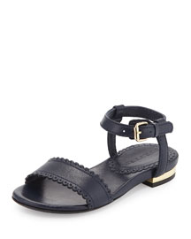 Vanness Leather Sandal, Navy, Youth