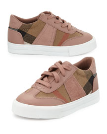 Longsley Leather-Trim Check Sneaker, Nude Blush, Toddler