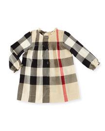Marissa Check Pintucked Shift Dress, Tan, Size 3M-3