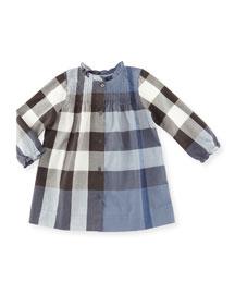 Marissa Check Pintucked Shift Dress, Blue, Size 3M-3
