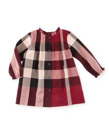 Marissa Check Pintucked Shift Dress, Pink, Size 3M-3