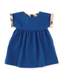 Jen Cap-Sleeve Pique Dress, Blue, Size 3M-3