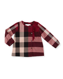 Alaya Long-Sleeve Cotton Check Top, Berry Pink, Size 6M-3