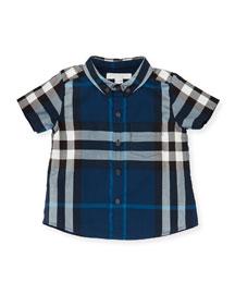 Fred Mini Short-Sleeve Check Shirt, Blue, Size 6M-3