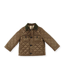 Phineas Quilted Button-Front Jacket, Oregano, Size 3M-3