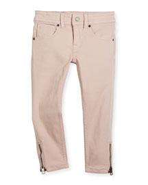 Skinny Zip-Cuff Stretch Jeans, Powder Pink, Size 4-14