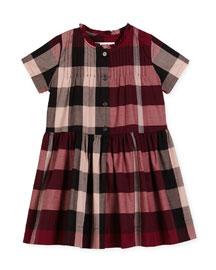 Bretty Short-Sleeve Check Dress, Size 4-14