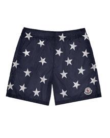 Star-Print Swim Trunks, Navy, Size 4-6