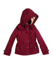 Marylesdale Hooded Snap-Front Jacket, Berry Pink, Size 4-14