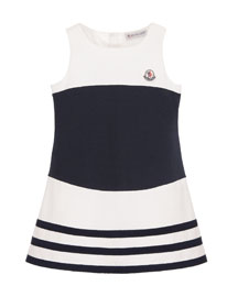 Sleeveless Striped Stretch Dress, White/Blue, Size 8-10