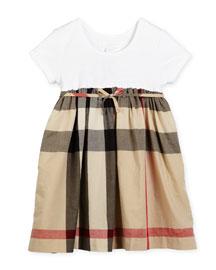 Rosey Ribbed-Trim Combo Dress, Tan, Size 4-14