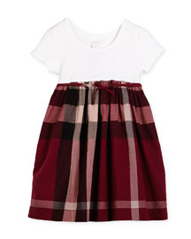 Rosey Ribbed-Trim Combo Dress, Pink, Size 4-14