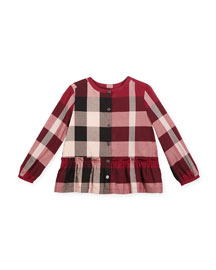 Renate Long-Sleeve Check Blouse, Berry Pink, Size 4-14