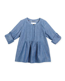 Roza Long-Sleeve Pleated Chambray Shirt, Stone Blue, Size 4-14