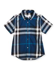 Fred Mini Short-Sleeve Check Shirt, Size 4-14