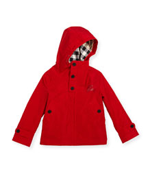 Barkby Hooded Zip-Front Jacket, Red, Size 4-14