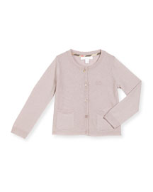 Pipan Moss-Stitched Cashmere Cardigan, Thistle Pink, Size 4-14