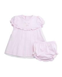 Summer Garden Pima Shift Dress w/ Bloomers, Pink, Size 3-9 Months