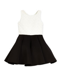 Colorblock Basketweave-Bodice Swing Dress, Cream/Black, Size 4-6