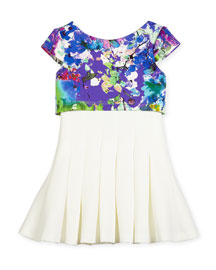 Cap-Sleeve Floral-Trim Flyaway Dress, Cream, Size 7-16