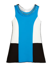 Sleeveless Neoprene Colorblock Shift Dress, Blue, Size 7-16