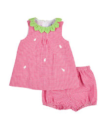 Gingham Seersucker Strawberry Dress, Fuchsia/White, Size 3-24 Months