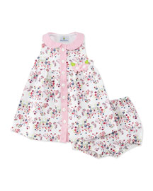 Sleeveless Pique Butterfly Dress w/ Bloomers, Multicolor, Size 3-24 Months