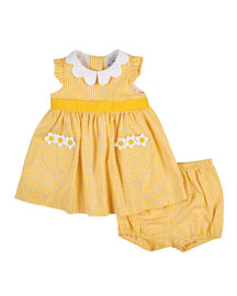 Cotton Gingham A-Line Dress, Yellow, Size 3-24 Months