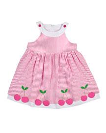 Sleeveless Cherry-Trim Striped Seersucker Dress, Pink/White, Size 2-6