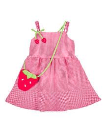 Sleeveless Gingham Seersucker Dress, Pink/White, Size 2-6