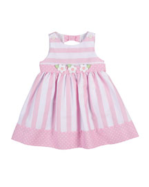 Sleeveless Striped Polka-Dot-Trim Dress, Pink, Size 2-4