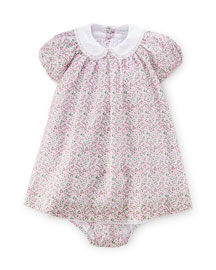 Batiste Floral Lace-Trim Dress w/ Bloomers, White/Multicolor, Size 9-24 Months