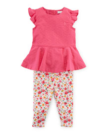 Cotton Twill Peplum Top w/ Floral Jersey Leggings, Active Pink, Size 9-24 Months