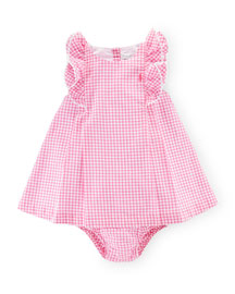 Sleeveless Double-Face Gingham Shift Dress w/ Bloomers, Pink, Size 9-24 Months
