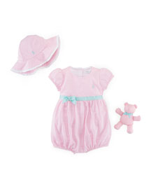 Oxford Mesh Playsuit, Hat & Teddy Bear Layette Set, White/Pink, Size 9-24 Months