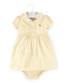 Cap-Sleeve Pima Polo Dress, Size 9-24 Months