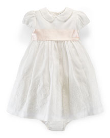 Embroidered Ramie Dress w/ Bloomers, White, Size 9-24 Months